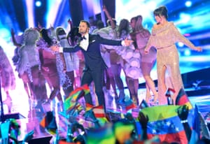 Eurovision hosts Petra Mede and Mans Zelmerlow during the final of the Eurovision Song Contest 2016 in Stockholm.
