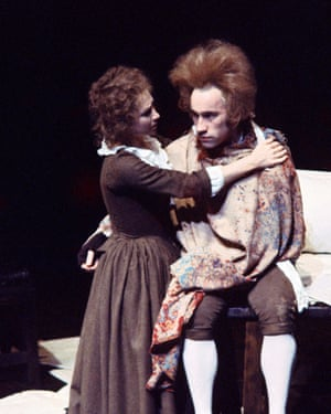Simon Callow as Mozart (right), and Felicity Kendal as Constanze Weber in the first production of Amadeus, directed by Peter Hall at the National Theatre, London, in 1980.