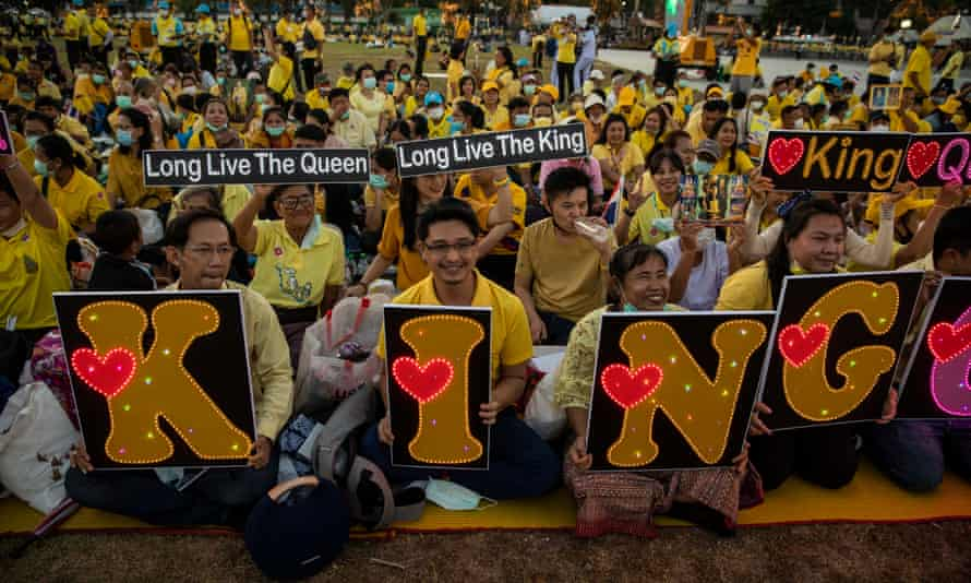 Thai monarchy supporters attend a remembrance ceremony for the late King Bhumibol Adulyadej