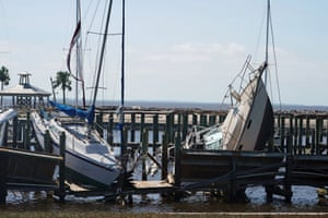 Boats are pictured ashore in Port St. Joe