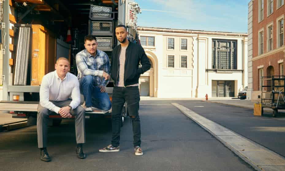 Spencer Stone, Alek Skarlatos and Anthony Sadler on the set of The 15:17 to Paris.