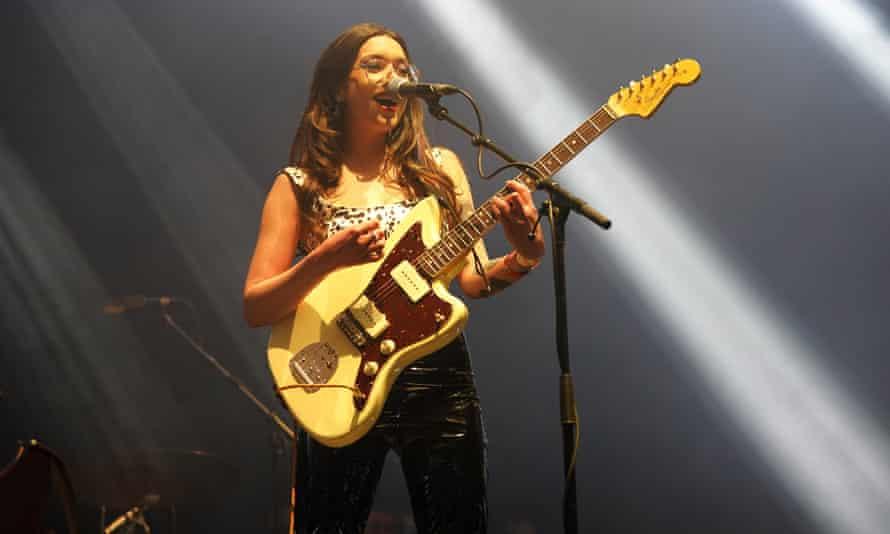 Zuzu on stage in Sefton Park.