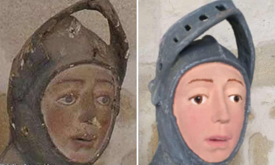 The St George effigy before and after restoration.