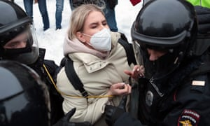 Riot police detain Lyubov Sobol, lawyer from the Anti-Corruption Foundation, during an unauthorised rally in support of Alexei Navalny in Pushkinskaya Square, Moscow