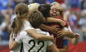 Carli Lloyd celebrates her hat-trick in the 2015 World Cup final