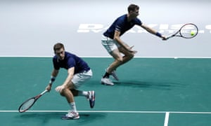 Great Britain's Jamie Murray (right) and Neal Skupski on their way to victory over Wesley Koolhof and Jean-Julien Rojer.