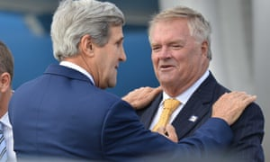 Kim Beazley in Sydney in 2014 with current US secretary of state John Kerry.