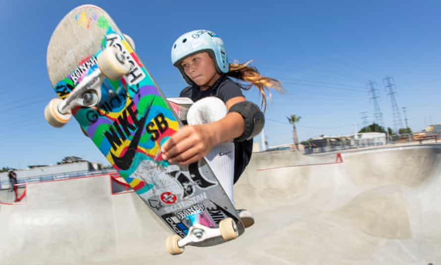 Sky Brown, 13, who will become GB's youngest summer Olympian when she competes in the park skateboarding discipline.