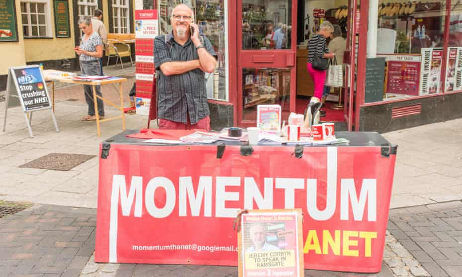 A Momentum supporter manning a stall in Ramsgate.