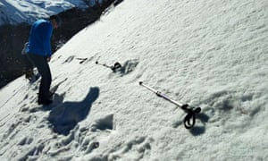 A photo taken by the Indian army showing large mysterious footprints in the snow near the Makalu base camp in the Himalayas.