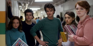 Shannon Purser as Barb, far right, in Stranger Things.