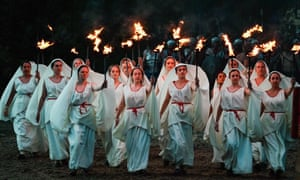 Blazing passion … members of Kynren's vast cast race through the dark.