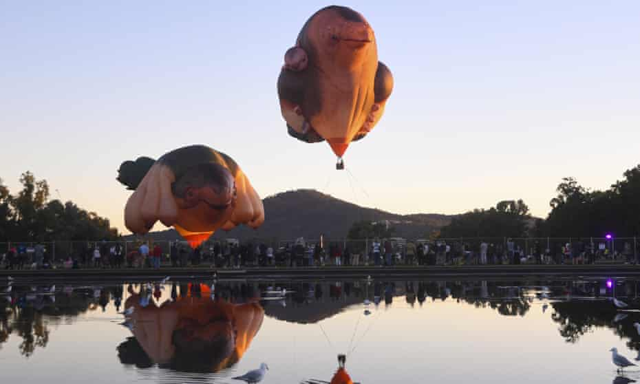 Hot air balloons Skywhalepapa and Skywhale were inflated in Canberra.
