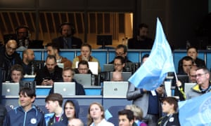 The press box at the Etihad Stadium ahead of Manchester City's Champions League quarter-final tie with Tottenham Hotspur. It proved to be an incredible and somewhat stressful game for the assembled journalists to write about