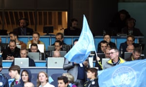 Barney Ronay (bottom left) sits in the press box at the Etihad. It will look very different for Manchester City v arsenal on Wednesday.