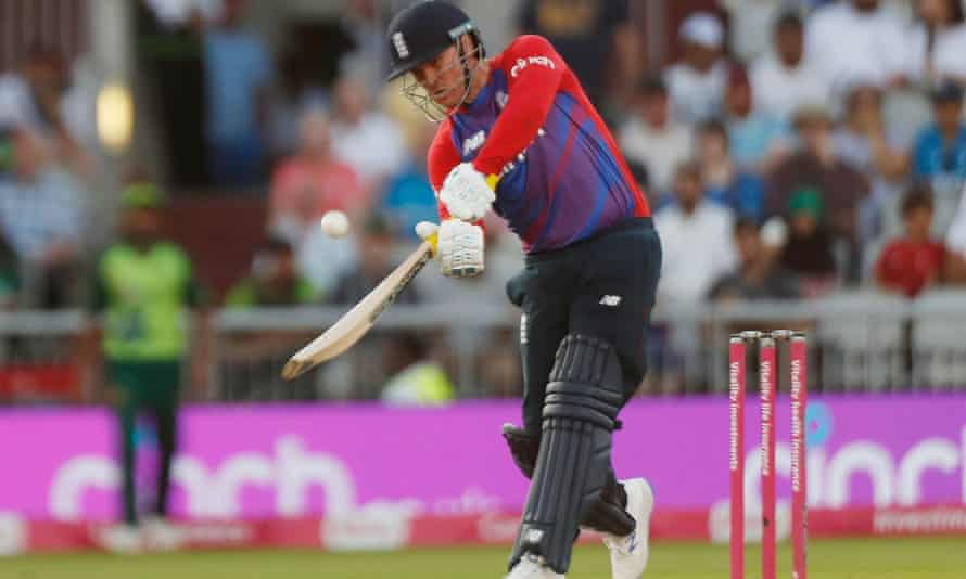 Jason Roy hits out during his innings of 64