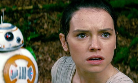 Daisy Ridley with BB-8 Droid in Star Wars: The Force Awakens.