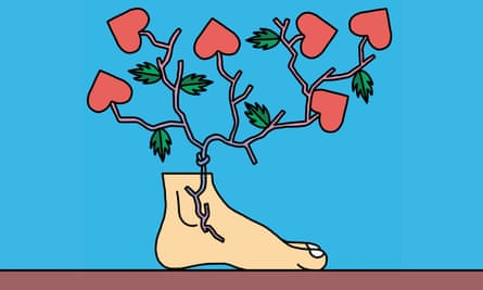 Illustration of foot with veins and hearts