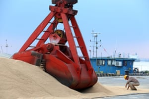 Imported soybeans at a port in Nantong, Jiangsu province, China
