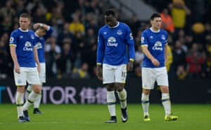 Everton's James McCarthy, Romelu Lukaku and Gareth Barry looks dejected after the third Watford goal.