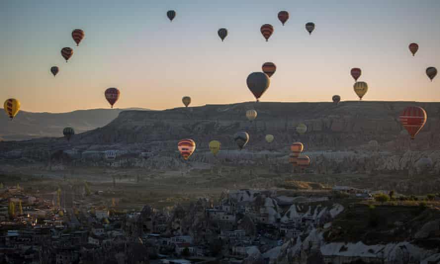Hot air balloons at Göreme, Cappadocia.