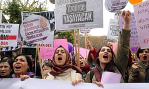 Women sing and dance during a gathering to celebrate International Women's Day in Ankara, Turkey.