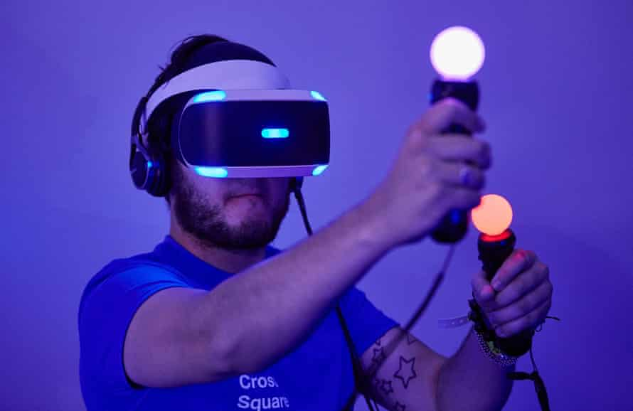A gamer tries out Sony's Playstation VR.