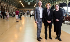 AGNSW director Michael Brand, MCA director Elizabeth Ann Macgregor and Carriageworks director Lisa Havilah