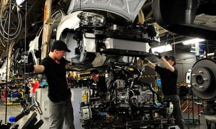 Workers inside Nissan's Sunderland factory.