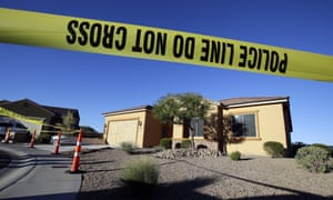Police tape blocks off the home of Stephen Paddock in Mesquite on Monday.