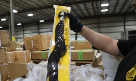 A shipment of hair pieces and accessories from China, part of which is suspected to have been made with forced or prison labor in violation of US Law.
