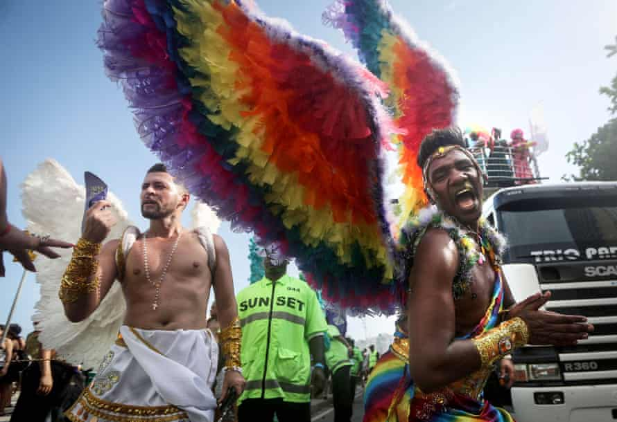 The annual gay pride parade on Copacabana beach in Rio de Janeiro, last Sunday. Marchers, like many across the world this year have called for expanded rights and protection from violence for those in the LGBT community.