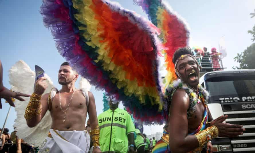 the annual gay pride parade on Copacabana beach