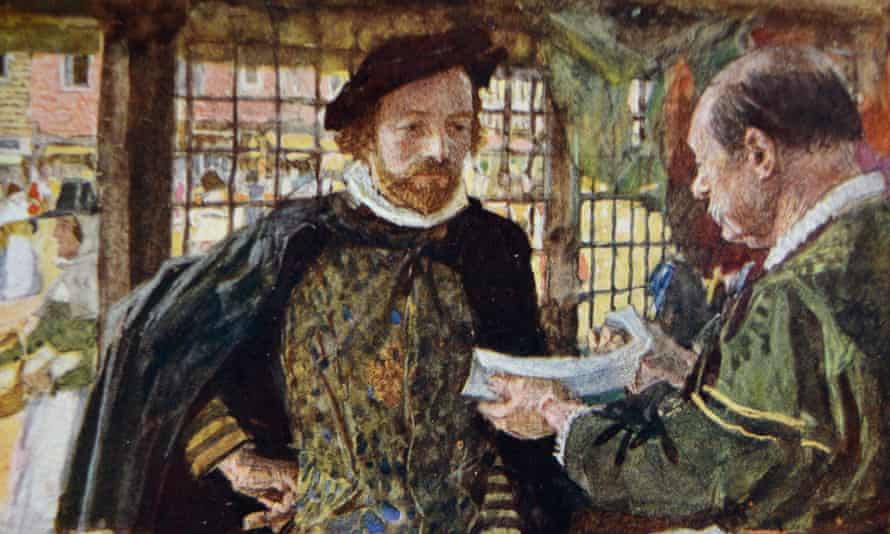 A detail from a speculative Victorian painting of Shakespeare out shopping.