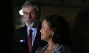 Gerry Adams with the Sinn Féin deputy leader, Mary Lou McDonald