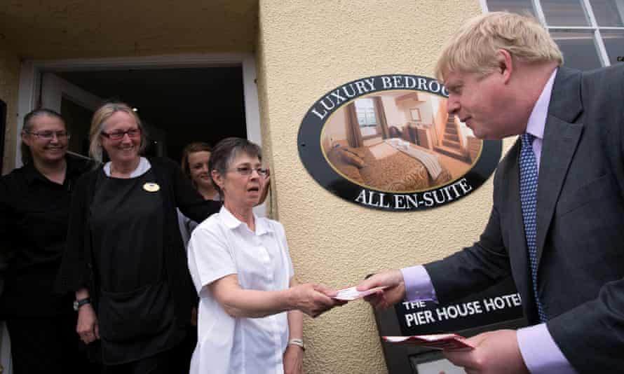 Boris Johnson hands out flyers in Charlestown, Cornwall