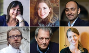 The contenders (clockwise from top left): Ali Smith, Fiona Mozley, Mohsin Hamid, Emily Fridlund, Paul Auster and George Saunders