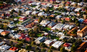 Aerial view of a suburb in Australia