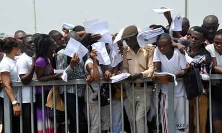 In 2014, there was a stampede as 20,000 people tried to apply for jobs in the Nigerian immigration service. Several would-be candidates were injured