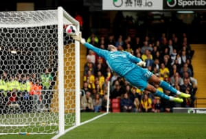 Some acrobatics from the Watford goalkeeper Ben Foster against Sheffield United at Vicarage Road