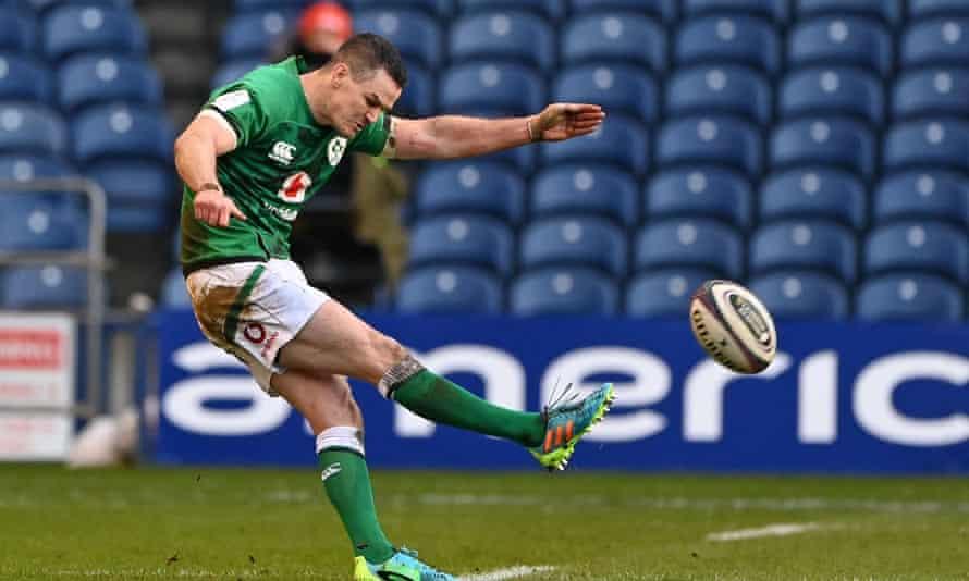 Johnny Sexton kicks the winning penalty for Ireland against Scotland