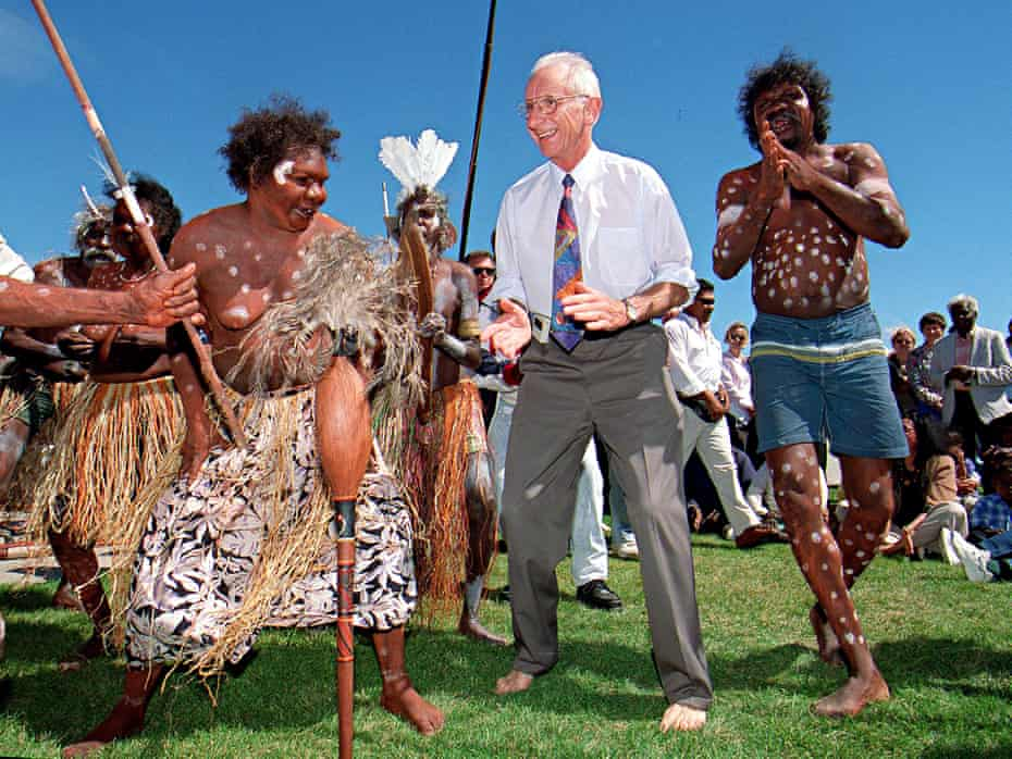 Barefooted Senator Brian Harradine, who fought for a compromise with the Howard government over native title legislation, dances with Gladys Tybingoompa and the Wik people in front of Parliament House on 31 March 1998.