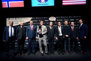 Carlsen at the award ceremony.