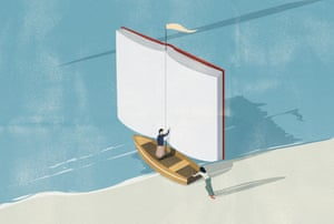 Illustration of boat with book as sail