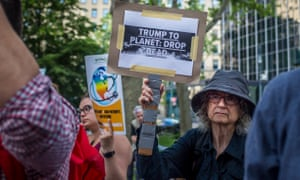 Protests in New York after Trump pulled out of the Paris climate accord.