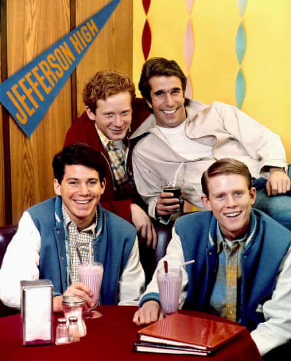 Anson Williams, Don Most, Henry Winkler and Ron Howard in Happy Days, which Howard starred in from 1974 to 1980