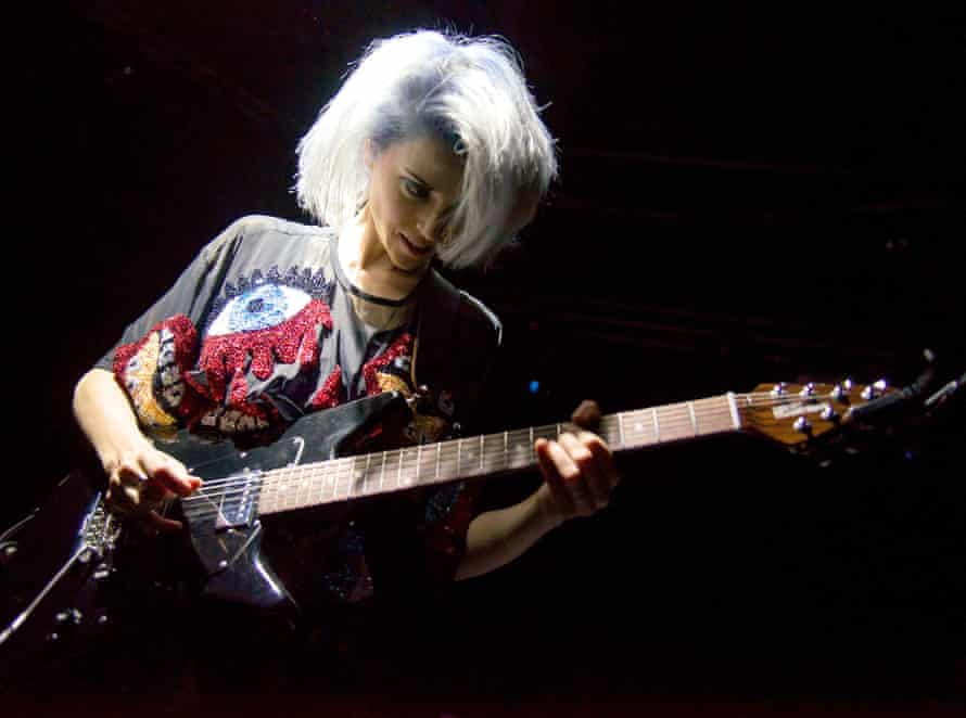 St Vincent on stage in Cambridge, UK, in 2014