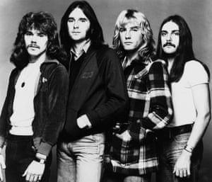 Alan Lancaster, Francis Rossi, Rick Parfitt, John Coghlan pictured in 1974