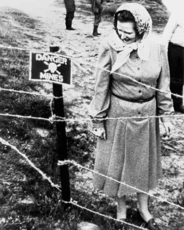 Margaret Thatcher examines a minefield during her visit to the Falkland Islands after the war in 1983.