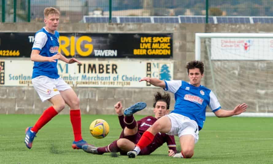 Alive and kicking … Cowdenbeath FC, AKA the 'Blue Brazil' v Heart of Midlothian FC in the 2020 Scottish League Cup.